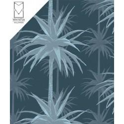 Palms pattern dark blue